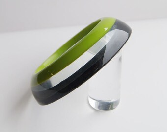 Funky green black and clear lucite bracelet