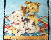 "Puppy Pillow Panel ""Fuzzytail Kittens and Puppies"" Puppy Quilt Panels - 24H X 42W - 6 PC - Novelty Fabric - Lisa McCue for SSI - OOP"