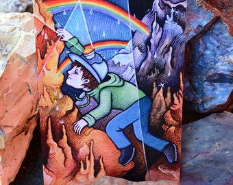 "POSTCARD based on the painting ""Rainbow Cave"" by Poxodd. 6"" X 4""  Cave, rock climbing scene, spelunking"