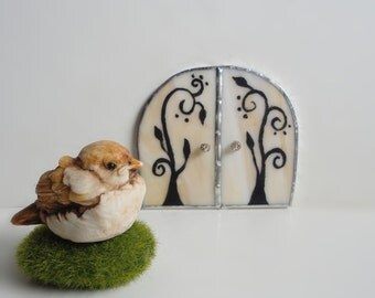 SALE, Fairy Door, Stained Glass, Hand Painted, Fairy Garden, Sculpture, Garden Art, Home Decor, White, Terrarium, Faerie House, Fae Portal