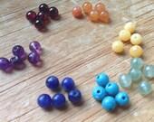 5 Sets Chakra / Rainbow Gemstone Beads. 4mm Chakra Bead Set, 5 each of 7 stones, Small Healing Gemstones, Yoga Jewelry, 35 Beads per Order