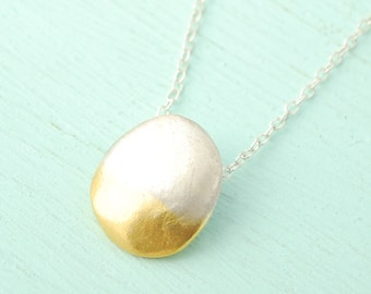 PEBBLE OMBRE Organic oval pendant necklace - handmade eco friendly sterling silver 14 kt gold dipped  handcrafted by Chocolate and Steel