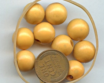 BAKELITE Vintage Buttons Yellow Set of (10)  Ball Shaped 12 mm 1/2 inch size 1060