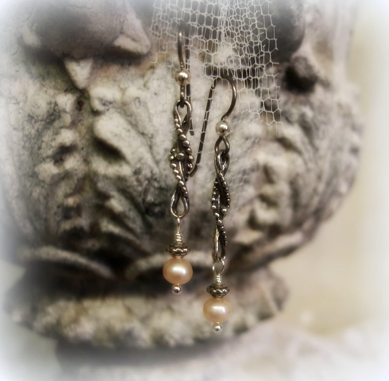 Sterling silver feather long earrings - sterling silver ball stud earrings