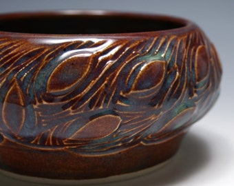 Small Carved Leaf Bowl in Burgundy
