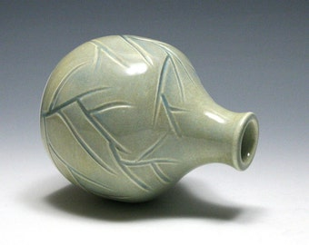 Small Vase with Carved Branches in Ocean Blue