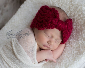 Crochet Headband Bow Style in Valentine Red - Winter Earwarmer Headband for baby girl, child, or woman