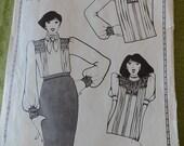 Vintage 80s Mauve a Design Company Cameo Blouse Set Smocking Pattern for Adults UNCUT