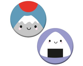 Kawaii Japan Badge Set - onigiri (rice ball) & Mt Fuji
