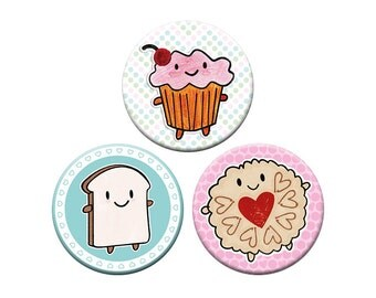 3 kawaii food button badges - Cakeify, Bread Slice & Jammie Dodger