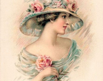 Digital Download Instant*Victorian girl in teal/aqua with roses on her hat*gorgeous*Greeting card*frame* tag*pillow,*scrap book*O darling