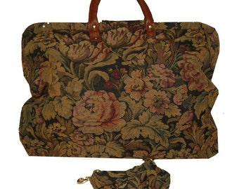 Midnight Garden Floral Tapestry Carpet Bag