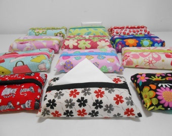 Wholesale Lot of Ten (10) Travel Tissue Cozy, Travel Tissue Holder, Fabric Accessory