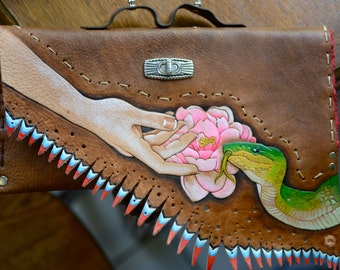 SALE Present Moment Envelope Clutch. Hand tooled Double Milled Veg Tanned Leather. Crimson suede.