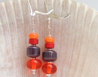 FAVORITES Handmade Lampwork Bead Dangle Earrings