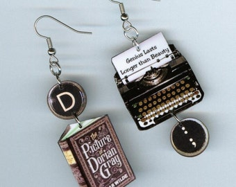 Book cover Earrings  - The Picture of Dorian Gray Oscar Wilde - writers readers librarian gift - mismatched earring Designs by Annette