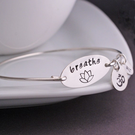 Breathe Bangle Bracelet, Yoga Jewelry, Just Breathe Jewelry,  Lotus Jewelry Gift, Yoga Teacher Gift, Yoga Lover Gift