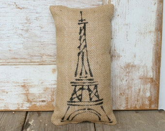 Eiffel Tower -  Burlap Doorstop - French Country  Door Stop - Eiffel Tower Decor - Paris Decor