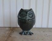 Vintage Owl Figurine - Trinket Box - Cast Iron - Silk Creek Gallery