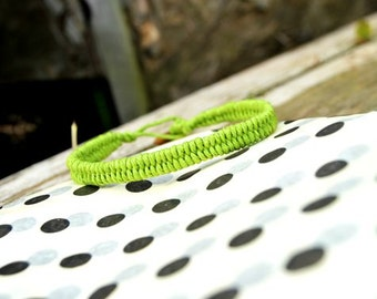 Lime Green Woven Men's Hemp Bracelet