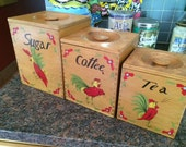 Wooden Nesting Canister Set Blonde Wood Mid Century 40s 50s Kitchen Kitch Dove tailed Sugar Coffee Tea Painted Red Rooster