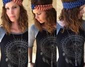 Vintage American Flag Jersey Knit Turban Headwrap Headband Bandanna Headwrap Hair Band