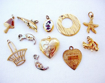 Pretty Lot of Various Vintage Pendants-Charms Jewelry Components
