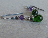 Chrome Diopside Earrings Purple Amethyst Earrings Oxidized Sterling Silver Earrings