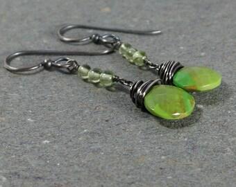 Green Turquoise Earrings Peridot Earrings Oxidized Earrings August, December Birthstone Earrings Sterling Silver Earrings Dangle Earrings