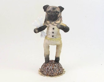 Vintage Inspired Spun Cotton Pug Dog Figure