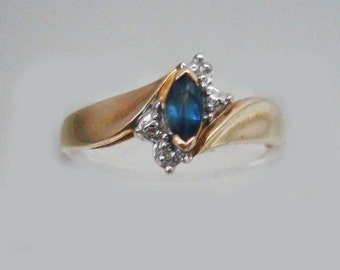 Sapphire & Diamond 10k Solid Gold Ring Vintage