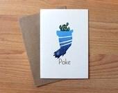 Poke letterpress linocut card