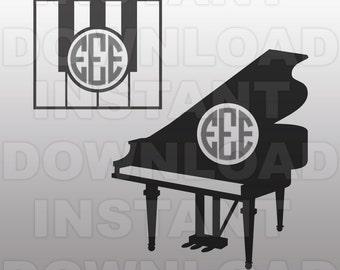 Music SVG File,Piano Monogram SVG File,Piano SVG File-Vector Clip Art for Commercial & Personal Use-Cricut,Cameo,Silhouette,Vinyl Cut File