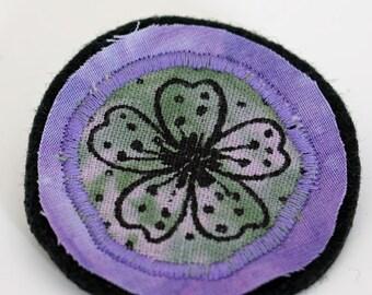 Fabric brooch pin, cherry blossom brooch, flower brooch, purple, lilac, green, hand dyed circle brooch pin, screenprinted textile art