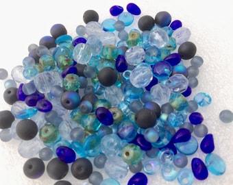 Shapes and colors Czech Glass Bead Mix LoT Fire Polished, round, donuts,  teardrops, Miyuki Magatama CARIBEAN WATERS