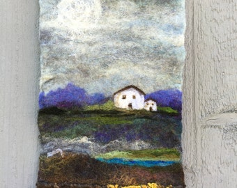 No.14 White House One - Wet Felted Wall Hanging