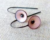 tiny poppy earrings torch fired enamel pale pink-sterling silver-dangle earrings