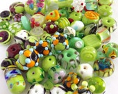 Handmade Glass Beads Set of 70 Lime Green Jewelry Supplies- The Glass Chef