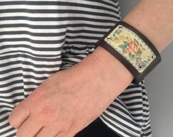 Black Leather & George Horner Vintage Tin Cuff Bracelet