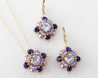 Purple Velvet and Clear Swarovski Rhinestone Pendant and Earring Set, Purple Weddings, Bridesmaid Necklace and Earring Set, Chatons