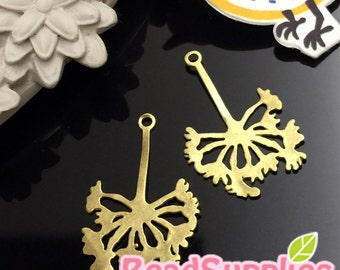 CH-ME-08080- Nickel Free, Brass, Spirit of Flower charm. 4 pcs