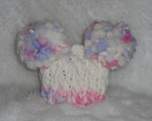 Pastel Pink and Violet Double Fluff Baby Hat Photography Prop Ready to Ship