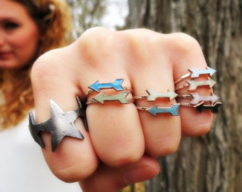 Enamel Arrow Rings on Sterling silver bands Clearance Sale