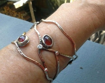 Mixed Metal Cuff Bracelet with Carnelians, Bronze and Sterling Cuff with Carnelians,