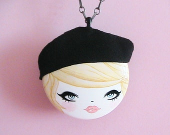 French Girl Doll Face Necklace