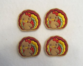 4 Felt TURKEY BABY Applique Embellishments Style YT small