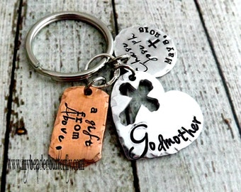 Godparent gift-godparent key chain-godmother keychain-religious key chain-godfather keychain-godmother-hand stamped-Christian-baptism gift