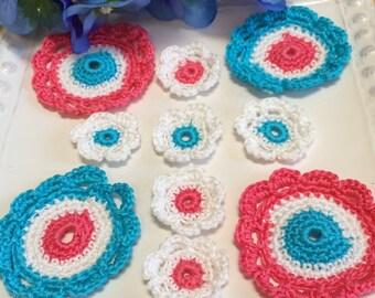 Crochet Patriotic Flower 10 pc, Doilies, Flower Appliqué ...red white blue... Craft supplies, flower appliqué, Party Favors, Weddings ,