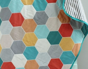 Baby Quilt Geometric hexagon hipster blanket PETUNIAS crib nursery decor baby shower gift newborn photo prop mod modern toddler bedding