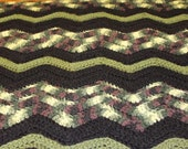 Handmade Crochet Ripple Chevron Baby Blanket Camo